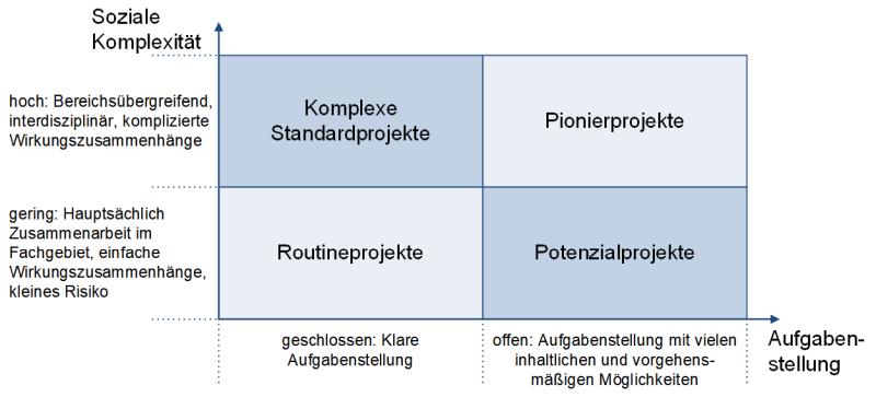 Die Projektarten (nach Risiko), (C) Peterjohann Consulting, 2006-2021