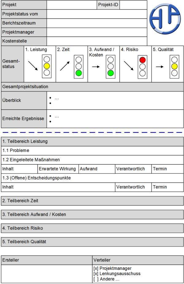 Der Projektstatusbericht: Formular, (C) Peterjohann Consulting, 2019-2020