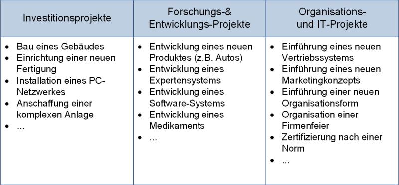 Die Projektarten (nach Typ), (C) Peterjohann Consulting, 2006-2021