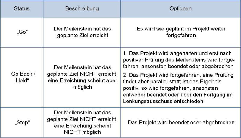 Die Optionen der Meilensteinprüfung, (C) Peterjohann Consulting, 2018-2021