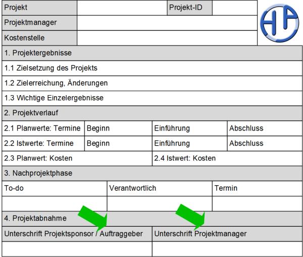 Der Projektabschlussbericht: Formular, (C) Peterjohann Consulting, 2019-2020