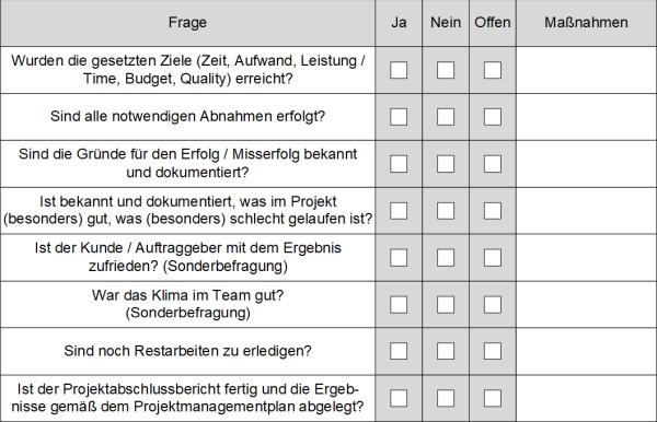 Checkliste: Kann das Projekt abgeschlossen werden?, (C) Peterjohann Consulting, 2019-2021