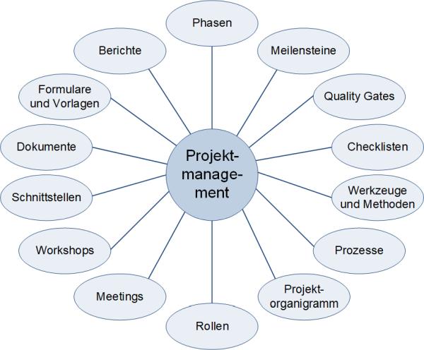 Die Elemente eines Projektmanagementsystems, (C) Peterjohann Consulting, 2016-2021