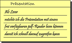 Eine User Story, (C) Peterjohann Consulting, 2014-2017